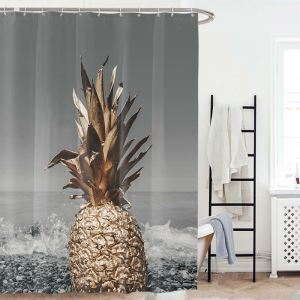 シャワーカーテン バスカーテン 防水防カビ プリント オシャレ 浴室 お風呂 リング付 パイナップル柄 1枚