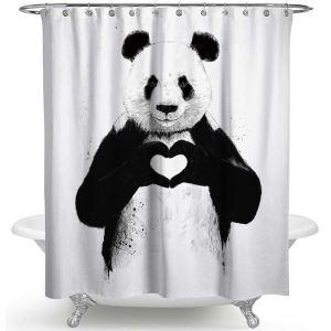 シャワーカーテン バスカーテン 防水防カビ プリント オシャレ 浴室 お風呂 リング付 動物柄 1枚