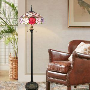 フロアスタンド ステンドグラスランプ フロアランプ 照明器具 書斎 ローズ柄 2灯 XCL01