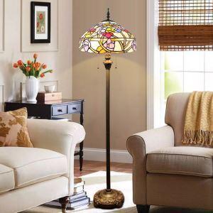 フロアスタンド ステンドグラスランプ ティファニーライト フロアランプ 照明器具 書斎 花柄 2灯 XCL02