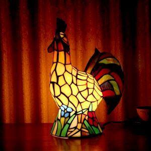 テーブルランプ ステンドグラスランプ 枕元スタンド ナイトライト オンドリ型 1灯