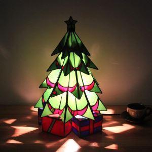 テーブルランプ ステンドグラスランプ 枕元スタンド ナイトライト クリスマスツリー型 1灯