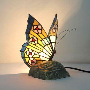 テーブルランプ ティファニーライト ステンドグラスランプ 枕元スタンド ナイトライト 蝶型 1灯