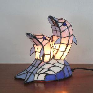 テーブルランプ ステンドグラスランプ 枕元スタンド ナイトライト イカ型 1灯