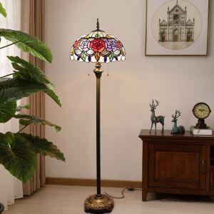 フロアスタンド ステンドグラスランプ ティファニーライト フロアランプ 照明器具 書斎 花柄 2灯 XCL82