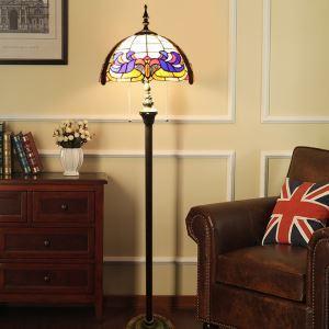 フロアスタンド ステンドグラスランプ ティファニーライト フロアランプ 照明器具 書斎 2灯 XCL75