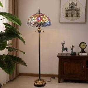 フロアスタンド ステンドグラスランプ ティファニーライト フロアランプ 照明器具 書斎 花柄 2灯 XCL80