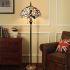 フロアスタンド ステンドグラスランプ ティファニーライト フロアランプ 照明器具 書斎 蝶&葉柄 2灯 XCL81