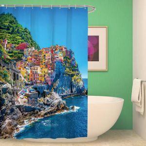 シャワーカーテン バスカーテン 防水防カビ プリント オシャレ 浴室 お風呂 リング付 建築柄 3D立体 1枚