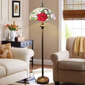 フロアスタンド ステンドグラスランプ フロアランプ 照明器具 書斎 花柄 2灯 XCL094