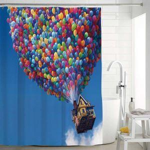 シャワーカーテン バスカーテン 防水防カビ プリント オシャレ 浴室 お風呂 リング付 落書き柄 1枚