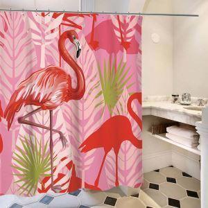 シャワーカーテン バスカーテン 防水防カビ プリント オシャレ 浴室 お風呂 リング付 フラミンゴ柄 1枚