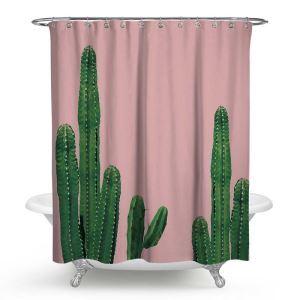シャワーカーテン バスカーテン 防水防カビ プリント オシャレ 浴室 お風呂 リング付 サボテン柄 1枚