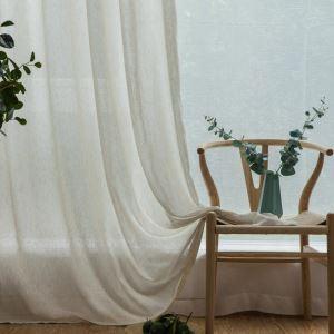 シアーカーテン オーダーカーテン UVカット 純色 麻 和風 レースカーテン(1枚)
