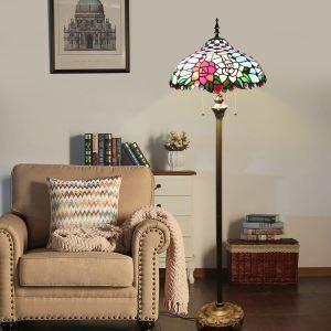 フロアスタンド ステンドグラスランプ フロアランプ 照明器具 書斎 花柄 2灯 XCL089