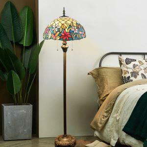 フロアスタンド ステンドグラスランプ フロアランプ 照明器具 書斎 花柄 2灯 XCL102