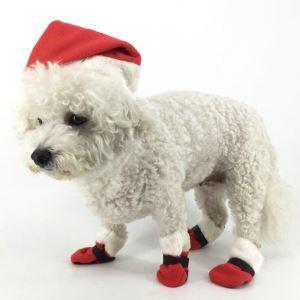 ペット服 クリスマス サンタ帽子 足袋 帽子足袋セット 祝日 犬猫用 かわいい コスチューム