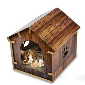 ペットハウス ペットベッド 段ボール紙 真似木型家屋 組み立て 爪とぎ 猫用