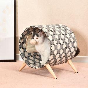 ペットベッド 猫ハウス ペット用寝床 円筒型 爪とぎ 四季用
