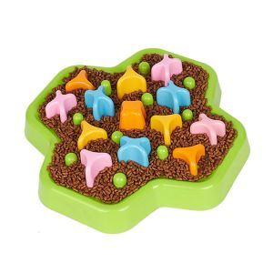 ペット用ボウル 餌やり台 早食い防止 過剰給餌防止 肥満解消 犬猫用 腸や身体への負担軽減