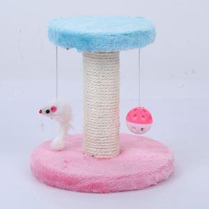猫タワー 爪研ぎタワー ボール付き ネズミ付き 据え置き 爪とぎ 円形土台 家具傷防止 ストレス解消