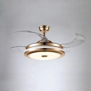LEDシーリングファンライト シャンデリア 照明器具 リビング照明 ダイニング照明 オシャレ LED対応 リモコン付 金色 QM50021