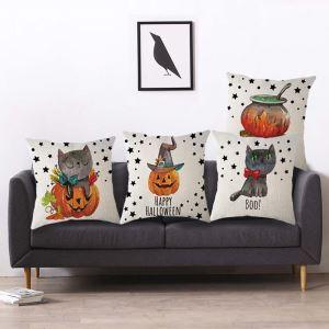 クッションカバー 抱き枕カバー ソファー・オフィス飾り クリスマス柄 Halloween Halloween 可愛い 4色