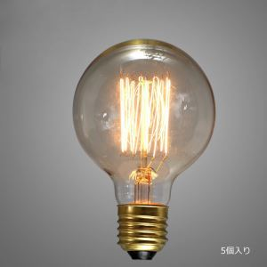 レトロなエジソン電球 ハロゲン電球 口金E26 G95 40W 5個入り