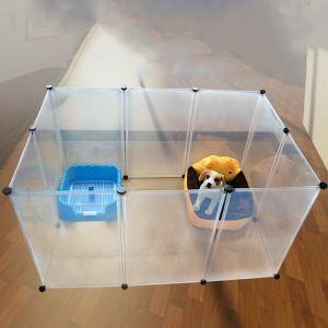 ペットフェンス ペットサークル ペット用ハイゲート 脱走防止柵 犬猫用 組立て式 設置簡単 半透明 10枚セット