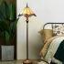 フロアスタンド ステンドグラスランプ ティファニーライト フロアランプ 照明器具 書斎 ヤンマ柄 青色 2灯 XCL108