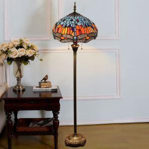 フロアスタンド ステンドグラスランプ フロアランプ 照明器具 書斎 ヤンマ柄 青色 2灯 XCL1281