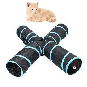 猫のおもちゃ トンネル 4通 出入り口 猫遊び 折り畳み可能 ストレス解消