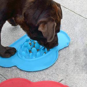 ペット食器 お皿 早食い防止 食器 柱付き 餌入り シリコン 過剰給餌防止 肥満解消 犬猫用