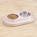 ペット食器 ペットボウル お皿 こぼれ防止 二つボウル 餌入れ 水やり 多頭飼い 犬猫用