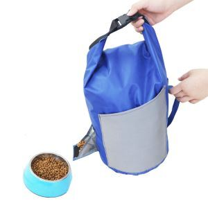 フードバッグ ウエストポーチ 小物入れ袋 食料 収納 折り畳み式 バレル ポータブル 犬猫用 お出かけ