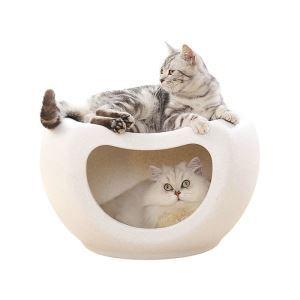 猫ベッド ペットハウス 猫 隠れ家 半閉鎖式 ドーム型 二層 四季通用