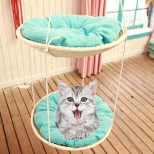 ペットハンモック 猫用 二層 二匹用 吊り下げ 吊り床 草の編み物