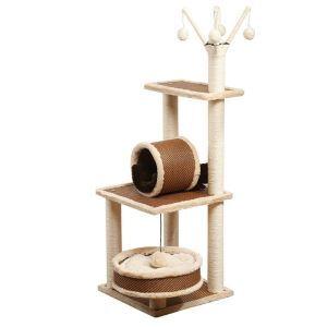 猫タワー 猫ツリー 据え置き 爪とぎ 猫ベッド ボール付き 麻紐 猫の遊び場