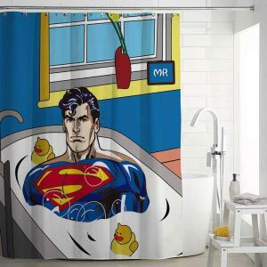シャワーカーテン バスカーテン 防水防カビ プリント オシャレ 浴室 お風呂 リング付 Superman柄 3D立体