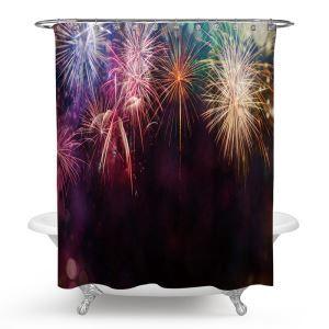 シャワーカーテン バスカーテン 防水防カビ プリント オシャレ 浴室 お風呂 リング付 花火柄 3D立体