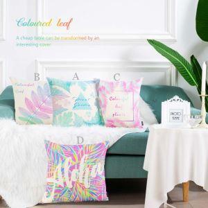 クッションカバー 抱き枕カバー 腰枕カバー 北欧風 リネン 彩色植物柄 4点