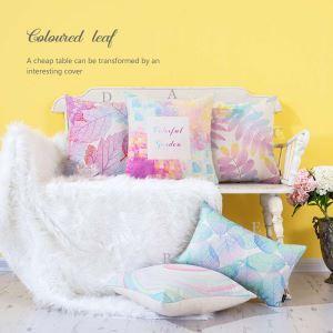 クッションカバー 抱き枕カバー 腰枕カバー 北欧風 リネン 彩色植物柄 5点