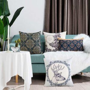 クッションカバー 抱き枕カバー 腰枕カバー 北欧風 リネン 植物柄 4柄