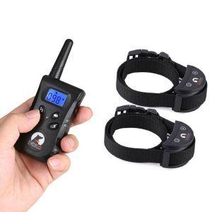 無駄吠え防止首輪 トレーニングカラー 伸縮首輪 しつけ用 電撃 警告音 振動感度で制御 LCD表示 2頭飼い