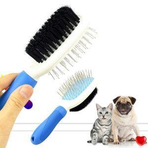 ペット用ブラシ 両面用ブラシ 犬猫用 美容ブラシ 針梳 美容 マッサージ 抜け毛取り