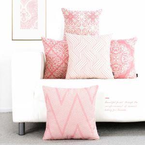 クッションカバー 抱き枕カバー 腰枕カバー 北欧風 リネン 幾何柄 ピンク 5点