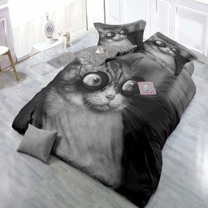 布団カバーセット 掛け布団カバー 敷き布団カバー まくらカバー ボックスシーツ 寝具カバー 捺染 子供用 3D猫柄 4点セット