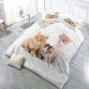 布団カバーセット 掛け布団カバー 敷き布団カバー まくらカバー ボックスシーツ 寝具カバー 子供用 3D猫柄 捺染 4点セット