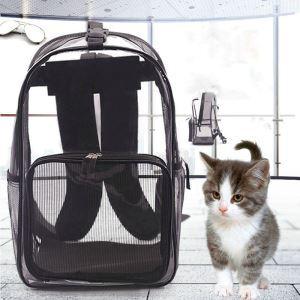 ペットバッグ ペットキャリー キャリーバッグ リュック型 犬猫用 透明 メッシュ 通気 お出かけ