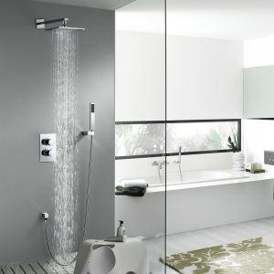 埋込式シャワー水栓 サーモスタット式混合栓 レインシャワーシステム ヘッドシャワー+ハンドシャワー バス水栓 水道蛇口 クロム